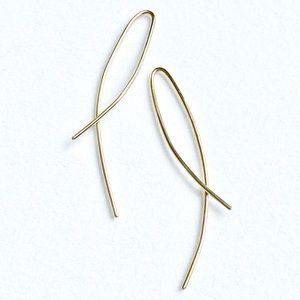 14KGF Arc Ear Threader Open Hoop Earrings